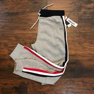 BNWT Mens Gray Red White Blue Stripe Joggers Pant